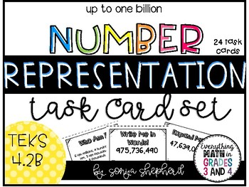 Place Value Number Representation Task Cards -  4th grade