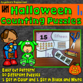 Halloween Activities : Place Value Number Sense - Counting Puzzles - Easy Cut