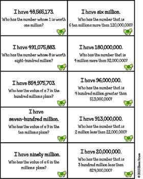 Place Value & Number Sense Games (Ones to Hundred Millions): I Have, Who Has