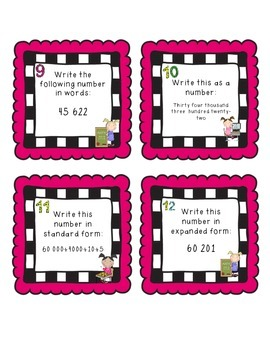 Place Value & Number Sense Task Cards to 100 000