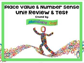 Place Value & Number Sense Unit Review & Test