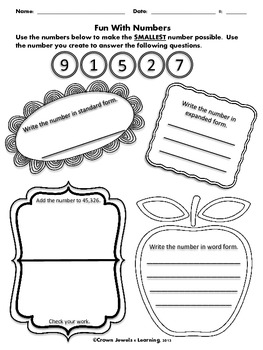 Place Value Number Tasks Common Core Aligned 4.NBT.2 - Sample