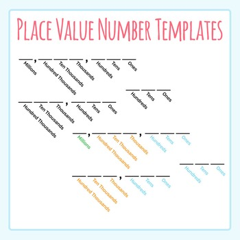 Place Value Number Template Clip Art for Commercial Use