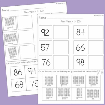 Place Value Cut and Paste Worksheets and Bingo Game - Numbers 1 to 100