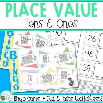 Place Value Cut and Paste Worksheets and Bingo Game - Numb