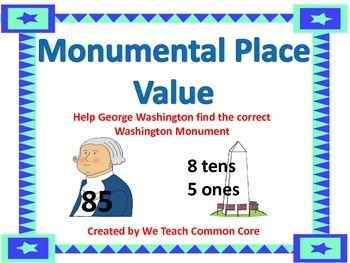 Place Value Numbers to 100 President's Day George Washington Theme