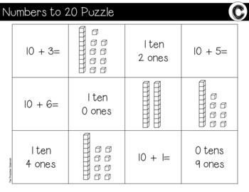 Place Value Numbers to 20 File Folder Puzzles Spring Theme