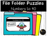 Place Value & Number Patterns to 40 Game File Folder Puzzles Space Theme