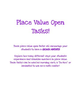 Place Value Open Tasks