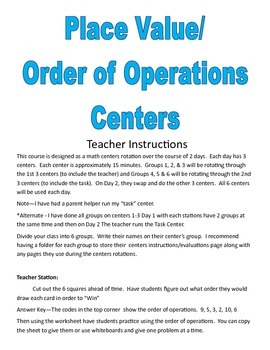 Place Value & Order of Operations Math Centers