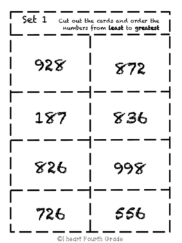 Place Value- Ordering Card Sort Game- 3-digit
