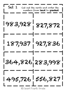 Place Value- Ordering Card Sort Game- 6 Digit