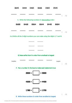Place Value:  Ordering and Comparing
