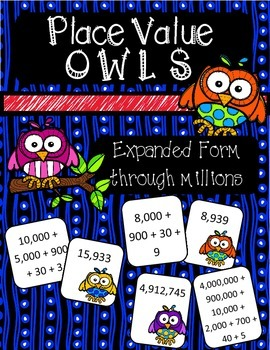 Place Value Owls - Expanded Form