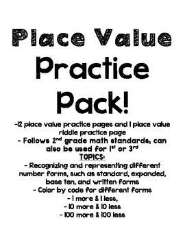 Place Value 2nd grade color by code number forms and more