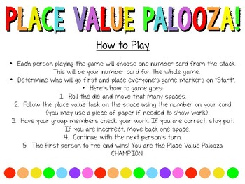 Place Value Palooza Board Game! (to the millions place)