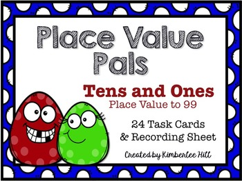Place Value Pals ~ Tens & Ones ~ Task Cards and Recording Sheet