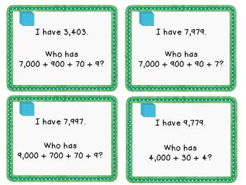 Place Value Parade An Expanded Form I Have, Who Has game