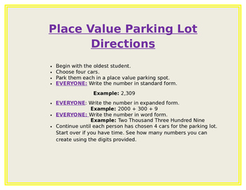 Place Value Parking Lot