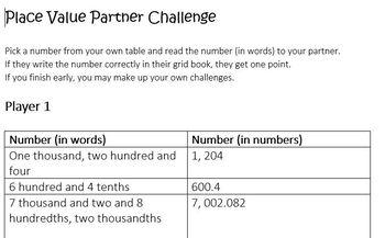 Place Value Partner Challenge