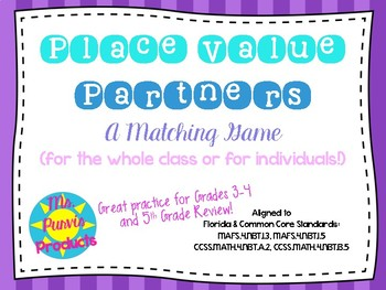 Place Value Partners Matching Game