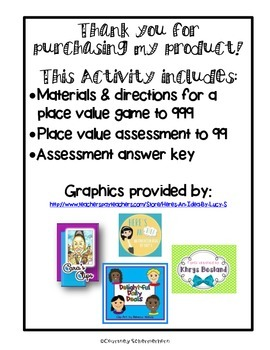 Place Value to 999 Game & Assessment