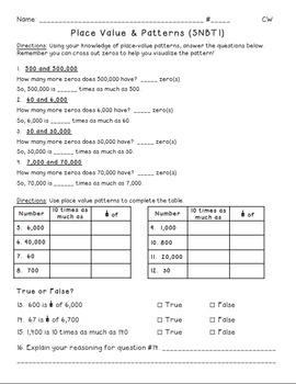 Place Value Patterns 5NBT1