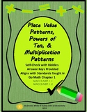 Place Value Patterns & Powers of Ten Self-Checking Math Sheets