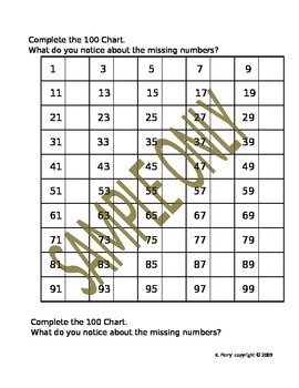 Place Value Patterns:Fill-in-the-Blank 100 Charts for Primary Students