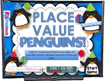 Place Value Penguins Smart Board Game