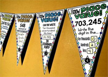 Place Value Math Pennant Activity without decimals