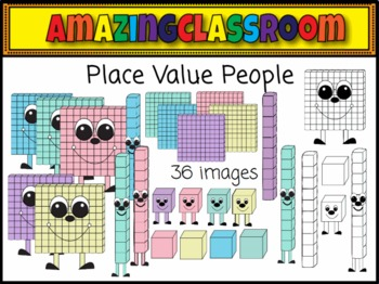 Place Value People and Blocks Clip Art Set Cute!!!