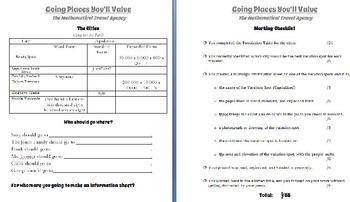 Place Value Performance Task - Travel Agency