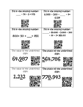 Place Value Pick-Up-18 Task Cards with QR codes