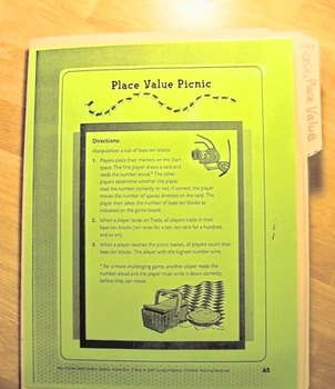 Place Value Picnic Mary Peterson File Folder Math Board Game Regrouping millions