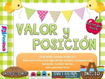 Place Value Picnic SPANISH PowerPoint Game FREEBIE