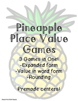 Place Value Pineapples: 3 Center Games!