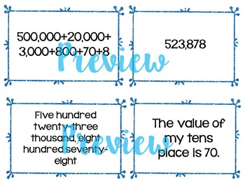 Place Value Pocket Chart Sort for Centers