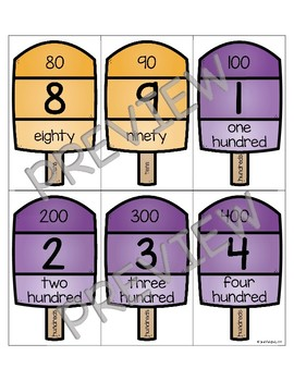 Place Value Popsicles Three-Digit Numbers