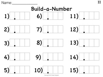 Place Value Positions Build-a-Number Game 5th Grade CCSS