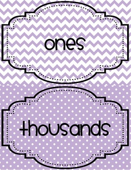 Place Value Poster Cards with Numbers