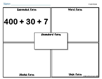 Place Value Poster & Practice Sheets