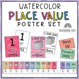 Place Value Posters / Interactive Place Value Chart {Watercolor theme}