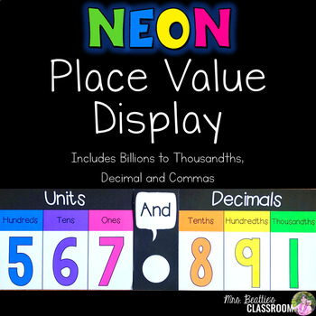 Place Value Posters - NEON Decor - Billions to Thousandths