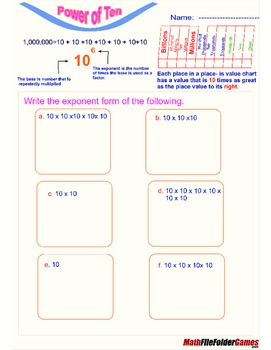 Place Value Chart - Power of Ten (Poster & Worksheets)