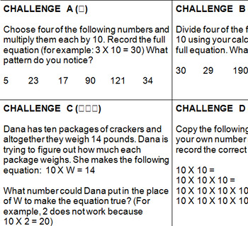 Place Value/Powers of 10 Challenge