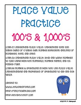 Place Value Practice 100's & 1000's