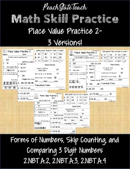 Place Value Practice 2- Comparing Numbers, Skip Counting, and Number Forms