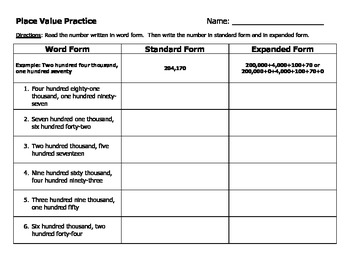 Place Value Practice 2 (word form to standard form to expanded form)
