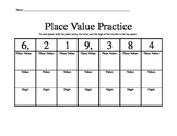 Place Value Practice Chart worksheet
